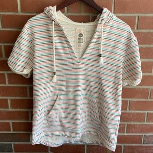Roxy Striped Cotton Short Sleeve Pullover Hoodie